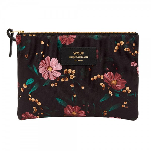 Large Pouch Black Flowers