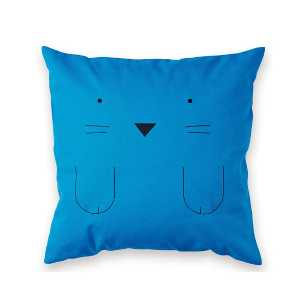 Kissen 40x40cm Chat bleu Made in France - Design by Bandjo
