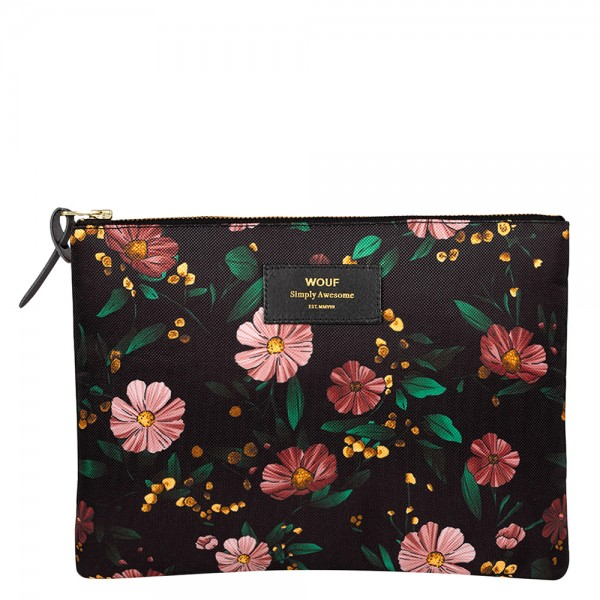 XL Pouch Bag Black Flowers