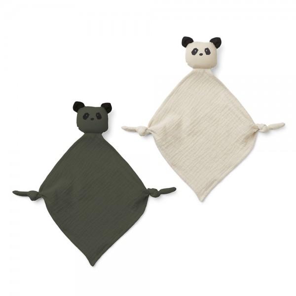 Kuscheltuch Yoko Panda mini 2er-Set hunter green mix