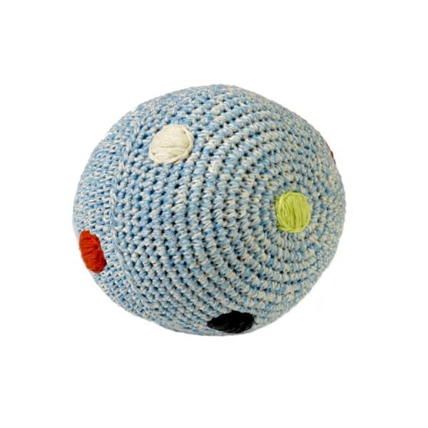 Ball mit Glocke gehäkelt - blau mit Tupfen