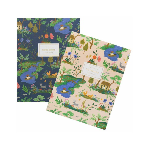 Notebook 2er-Set A5 Garden Toile blanko