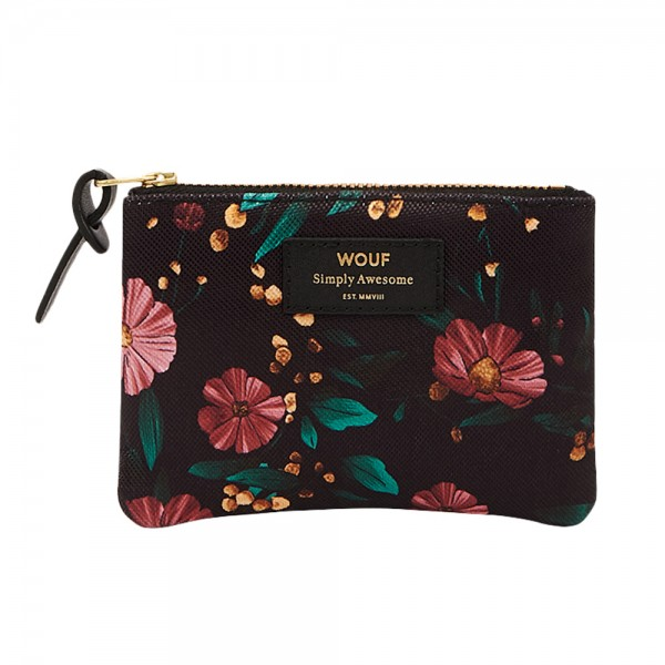 Small Pouch Bag Black Flowers
