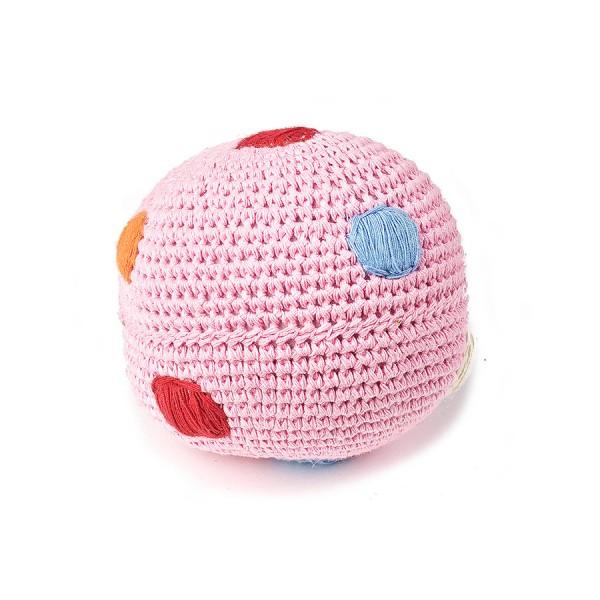 Ball mit Glocke gehäkelt - rosa mit Tupfen