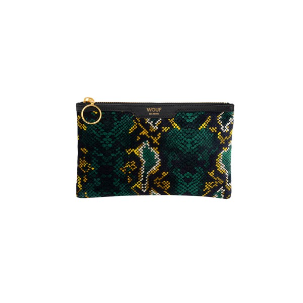 Pocket Clutch Bag Velvet Snakeskin