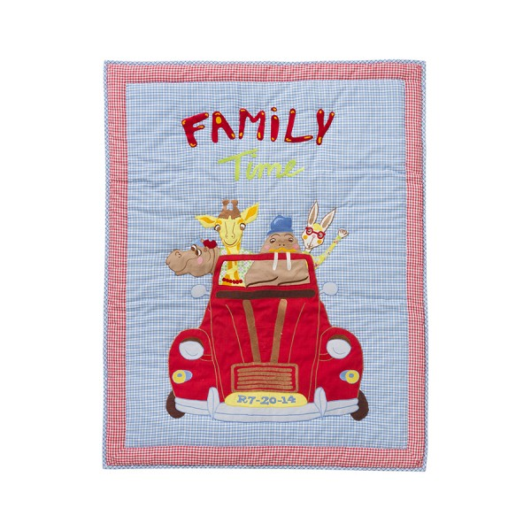 Quilt 80x100cm Car with Animals - blau / LAST PIECE