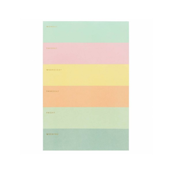 Large Memo Notepad Colorblock Weekdays