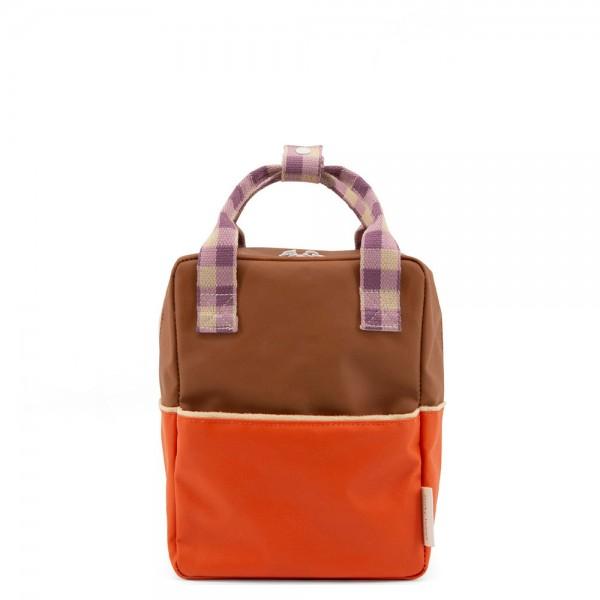 Rucksack small Colourblocking orange juice· plum purple · schoolbus brown