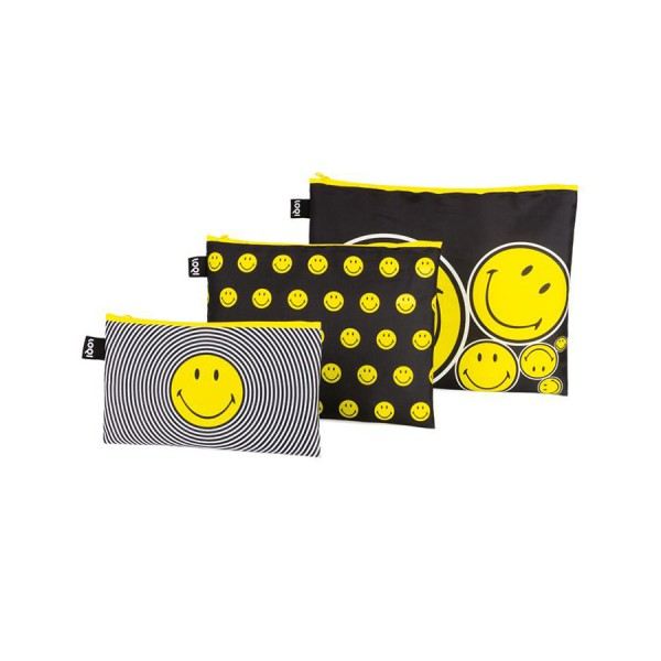 LOQI Zip Pockets Smiley Spiral, Dots, Spots 3er Set