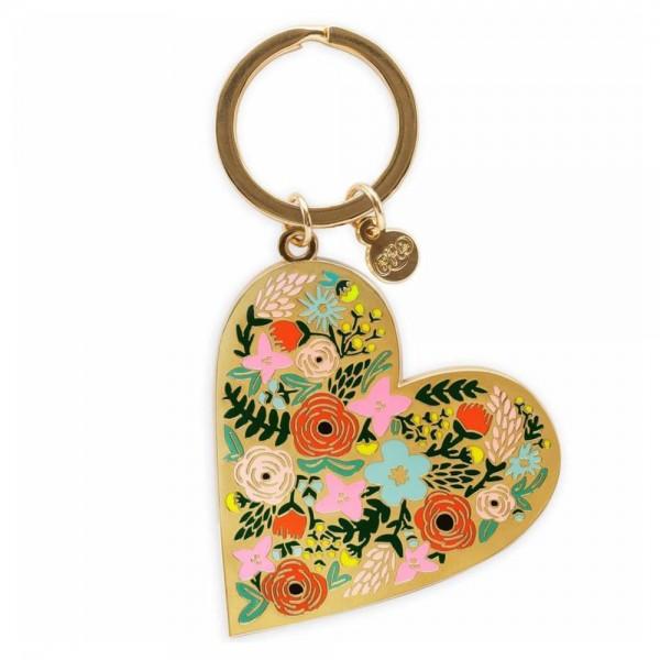 Schlüsselanhänger Floral Heart aus Emaille