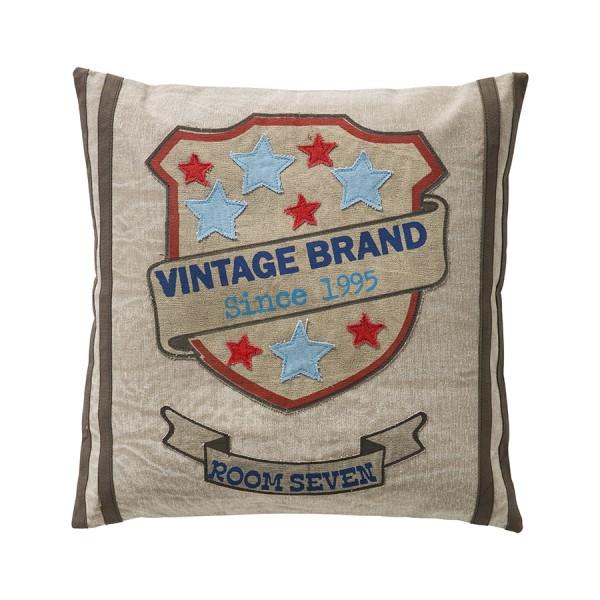 Kissenbezug 50x50cm Vintage Brand with Stars - grau
