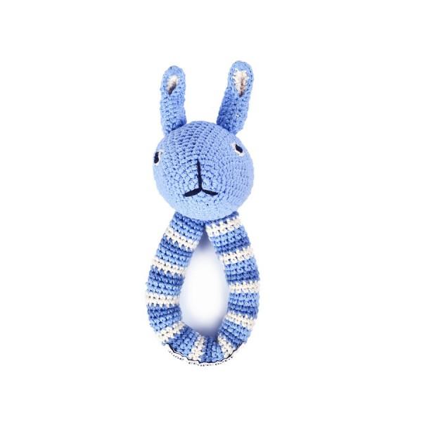 Greifling Hase mit Rassel in Blau