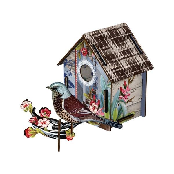 Deko-Vogelhaus I´m back! mit Vogel aus Textil