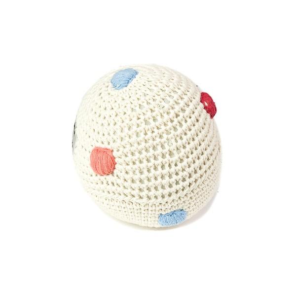 Ball mit Glocke gehäkelt - natur mit Tupfen