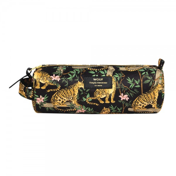 Pencil Case large Black Lazy Jungle