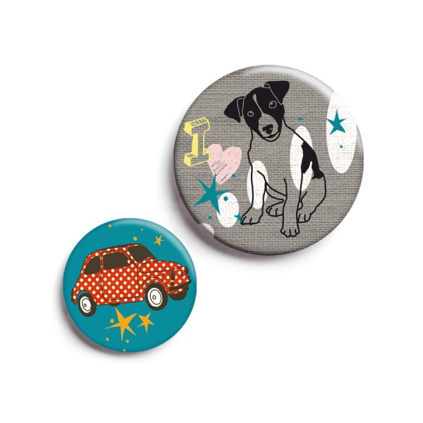 Button 2er-Set Hund