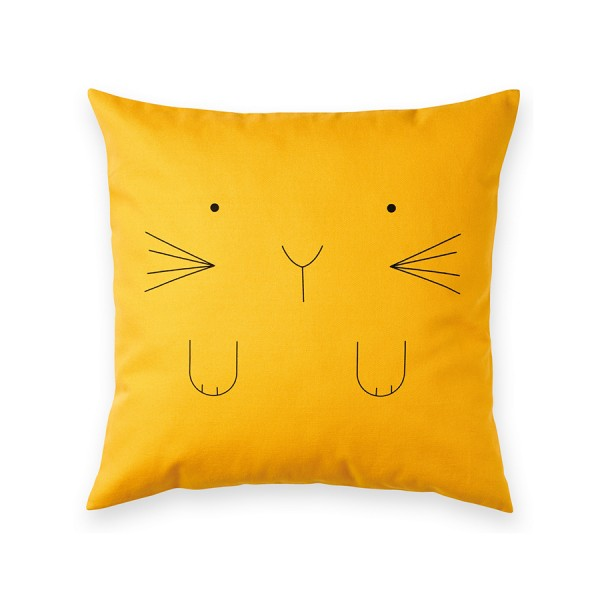 Kissen 40x40cm Lapin jaune Made in France - Design by Bandjo