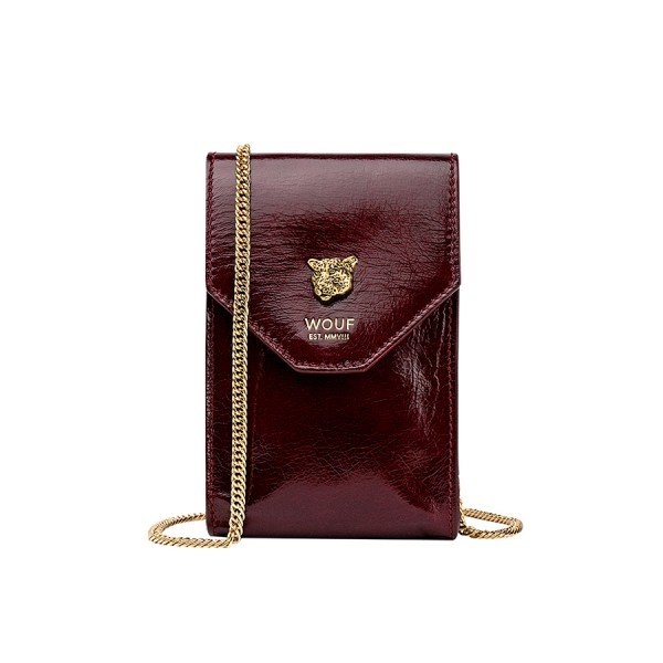 Wouf Flap Mini Bag Burgundy Tiger